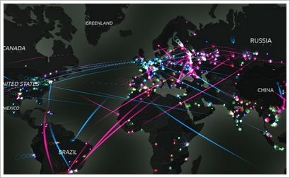 kasperskycyberthreatrealtimemap Kaspersky Cyberthreat Real Time Map   the map mashup that will scare you rigid