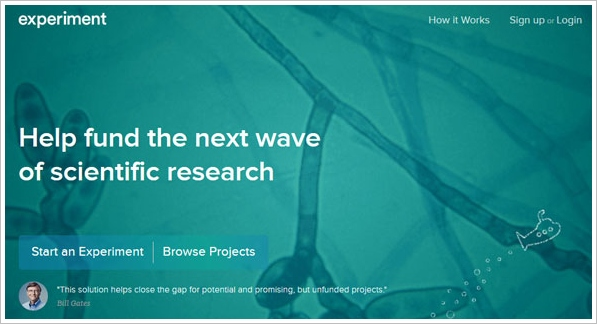 experiment Experiment   help fund the next wave of scientific research