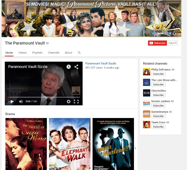 Paramount Vault – free full length movies on YouTube