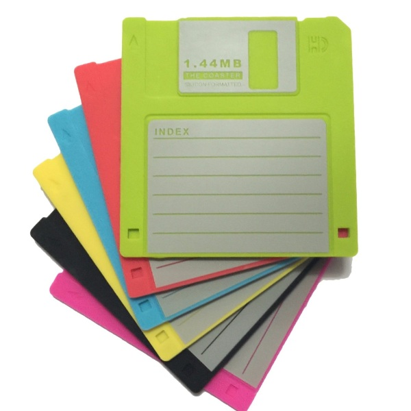 Retro Floppy Disk Silicone Drink Coasters – will hold up to 1.44MB of beverages