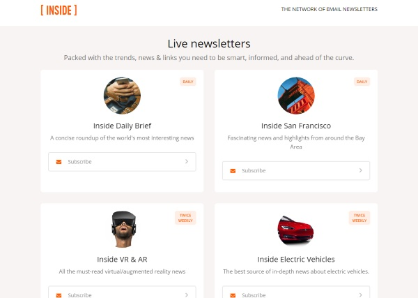 Inside – get curated daily newsletters for things you care about