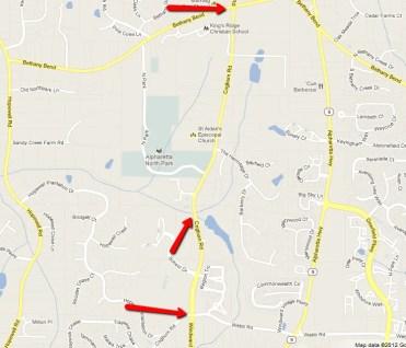 Milton GA road closing on Cogburn Rd