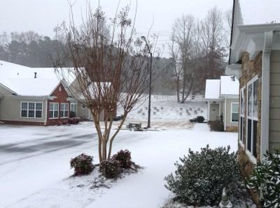 Rare snowfall at Atlanta Active Adult Community.