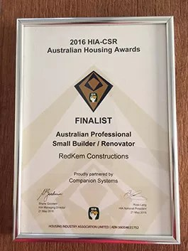 Housing Industry Association Australian Small Building Company 2016 – Finalist