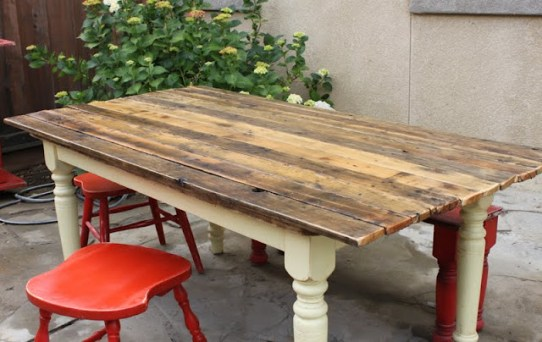 Rescued plank topped Farm Table made by Redouxinteriors.com