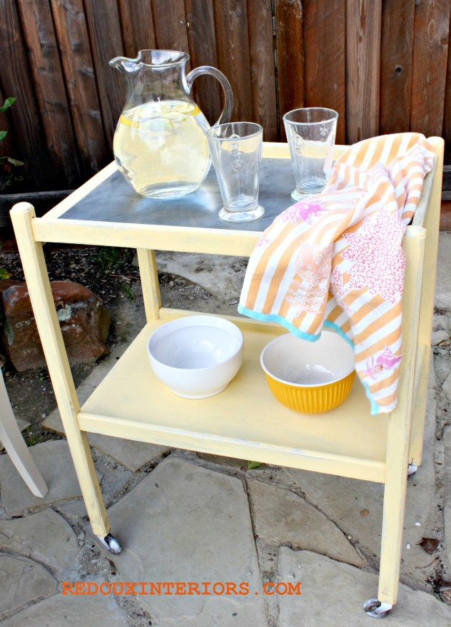 Carolina Sun Yellow Bar Cart Stainless Steel top redouxinteriors