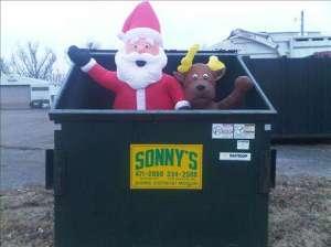 Santa in a dumpster