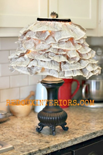 Lamp shade made of book pages redouxinteriors
