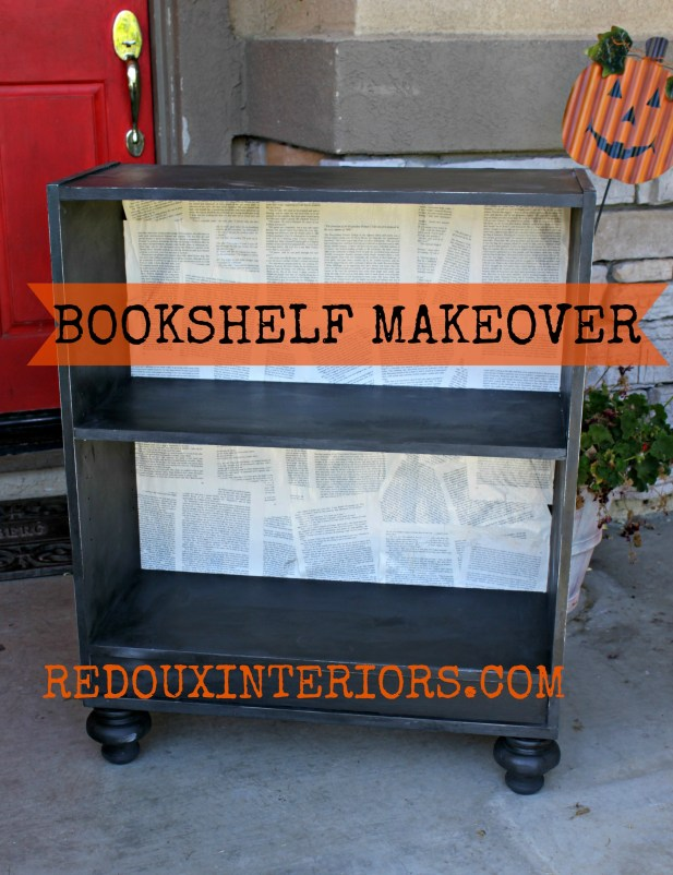Bookshelf backed with bookpages 1 redouxinteriors