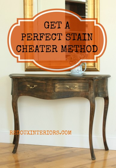 Stained entry table with label redouxinteriors