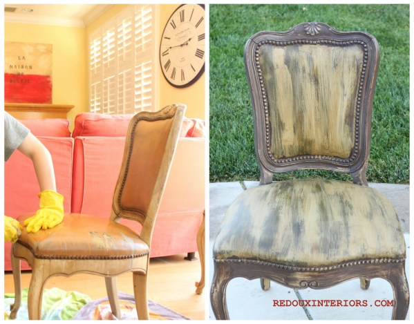 Painted Leather Chair before and after Redouxinteriors