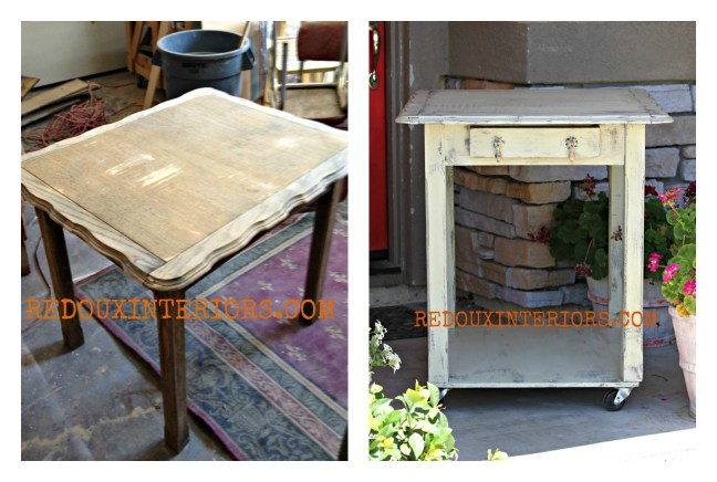 Table turned rolling island before and after Redouxinteriors