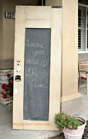Chalkboard door with weathered glaze redouxinteriors