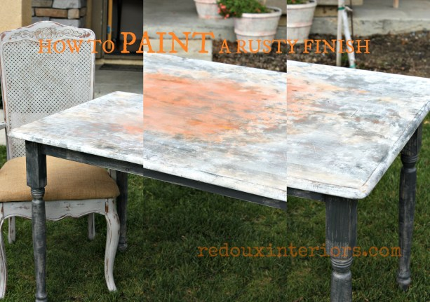 Farm Table Faux rusted top collage BANNER redouxinteriors