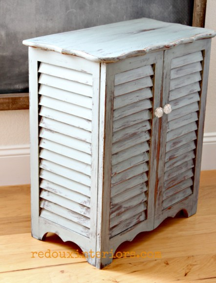 Hamper Distressed finish cece caldwells redouxinteriors side