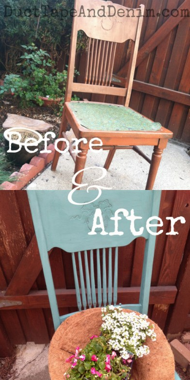 Before-and-after-chair-in-CeCe-Caldwell-Destin-Gulf-Green-repurposed-to-planter