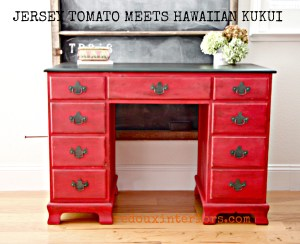 Red Desk with Dark Kukui Stained Top