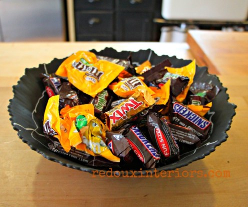 Dumpster Bowl turned Halloween candy bowl with candy redouxinteriors