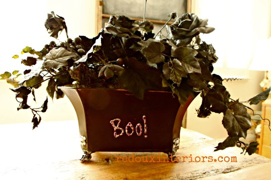 Mod Podge Dumpster Floral project with Boo letter redouxinteriors