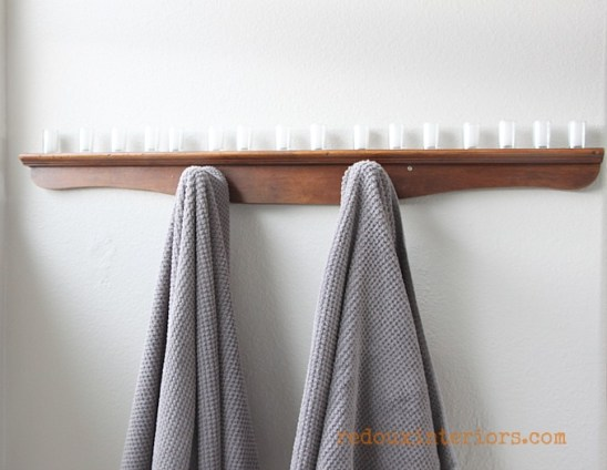upcycled towel rack from dresser parts with candles redouxinteriors