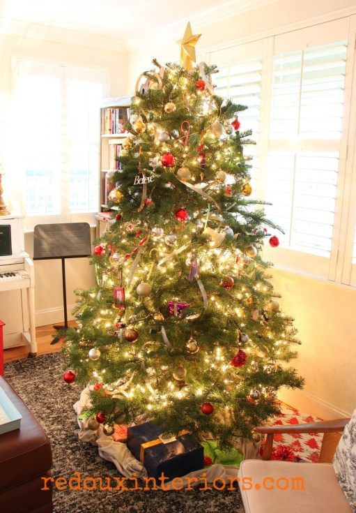 Redouxinteriors Holiday home tour christmas tree gold and silver