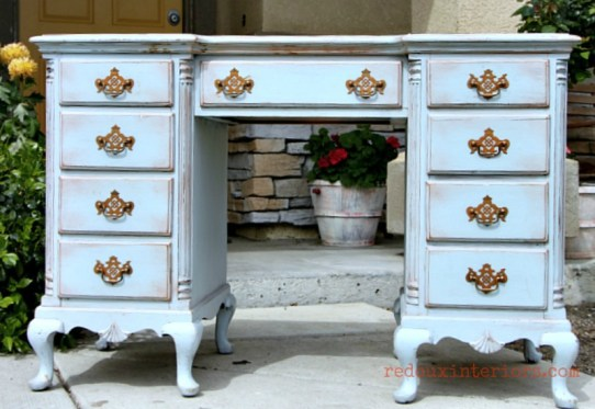 Distressed Desk redouxinteriors cece caldwells mixed blues