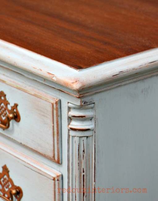 cece caldwells stains and metallic wax distressed desk corner redouxinteriors
