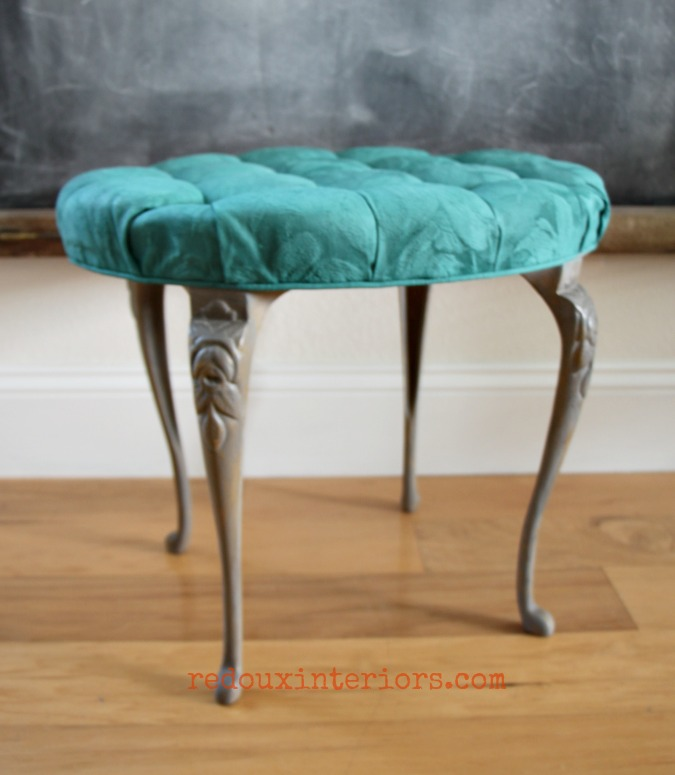 Peacock Blue cece caldwells fabric painted stool redouxinteriors 1