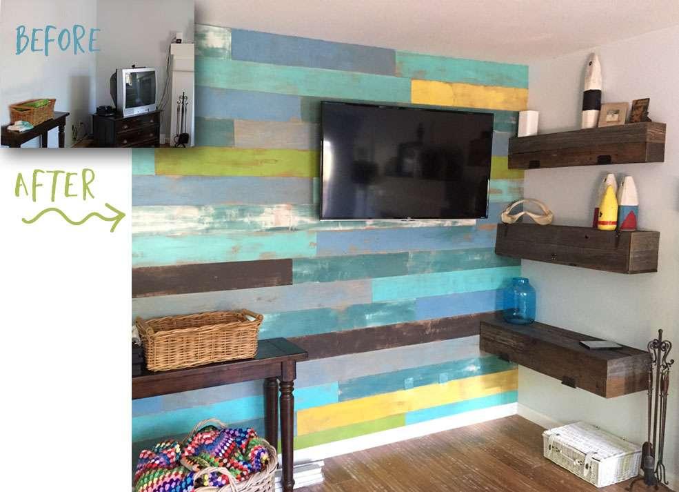 Colorful plank wood wall glitterfarm redouxinteriors