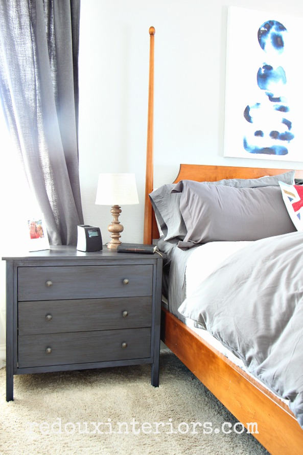 Nightstand in cece caldwells newport navy and all natural stain in master bedroom redouxinteriors