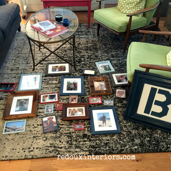 DIY Picture Gallery wall layout on floor redouxinteriors