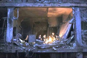 Gaza family living in ruins