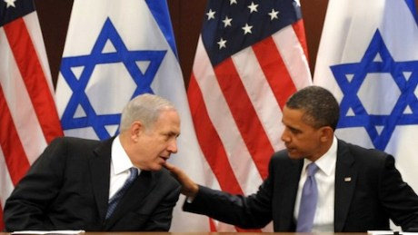 Obama tapping Netanyahu shoulder