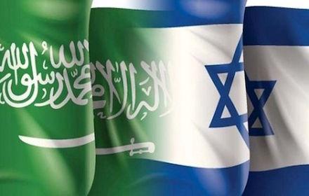 Overlapping Israeli and Saudi flags