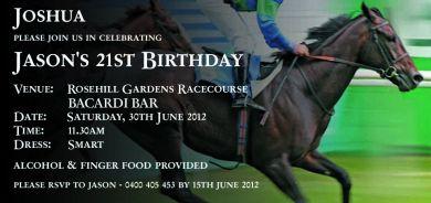21st Horse Racing Birthday Invitation Red Rose Invitations