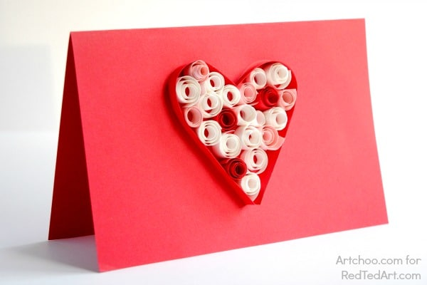Valentine\u0027s Cards Paper Quilling for Kids - Red Ted Art\u0027s Blog