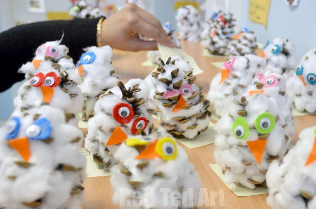 Pine Cone Crafts - Snowy Owls - Red Ted Art\u0027s Blog