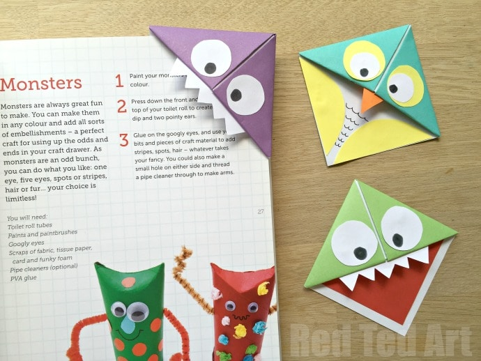 Monster Corner Bookmarks (and Owls!) - Red Ted Art\u0027s Blog