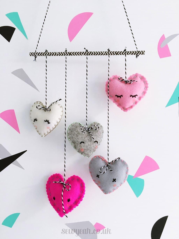 Incredible Make A Felt Heart Mobile Diy Heart Felt Mobile 1 How To Make A Heart On Desmos How To Make A Heart Friendship Bracelet art How To Make A Heart