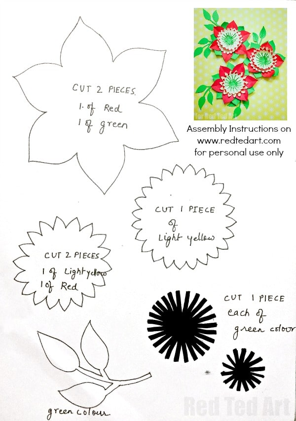 Pretty Paper Flowers DIY including Template - Red Ted Art\u0027s Blog - flower template