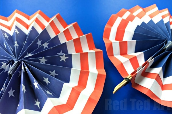 4th of July DIY Paper Fans Template - Summer Paper Crafts - Red Ted - 4th of july template