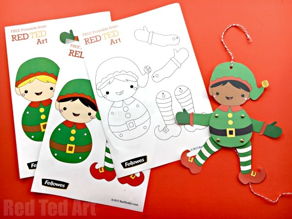 Easy Christmas Elf Paper Puppet with Templates - Red Ted Art\u0027s Blog