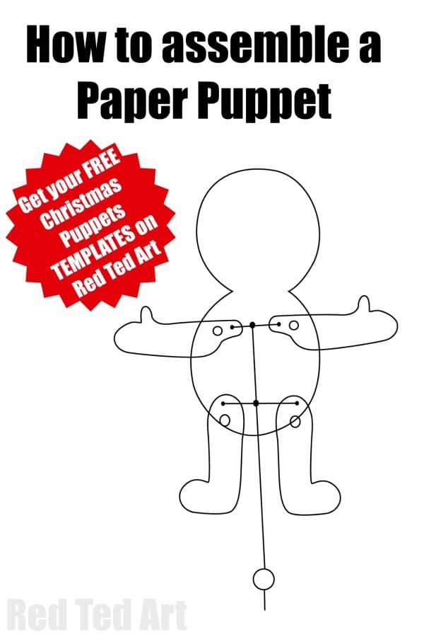 Paper Reindeer Puppet Template - Red Ted Art\u0027s Blog - puppet templates