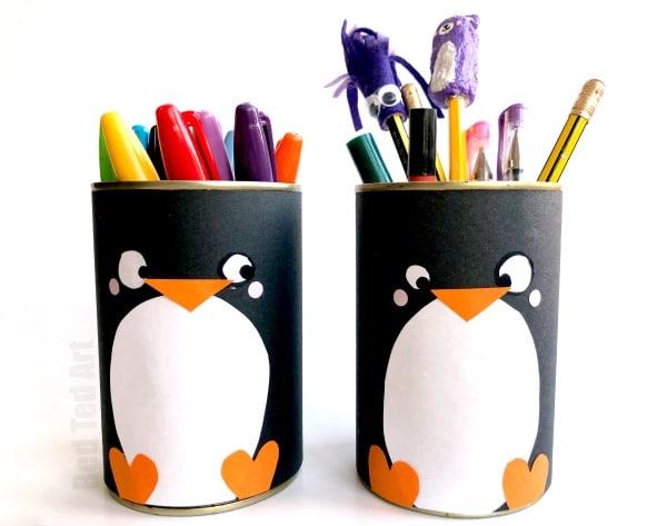 Diy Penguin Pencil Holder Red Ted Art39s Blog
