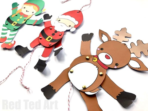 Paper Reindeer Puppet Template - Red Ted Art\u0027s Blog