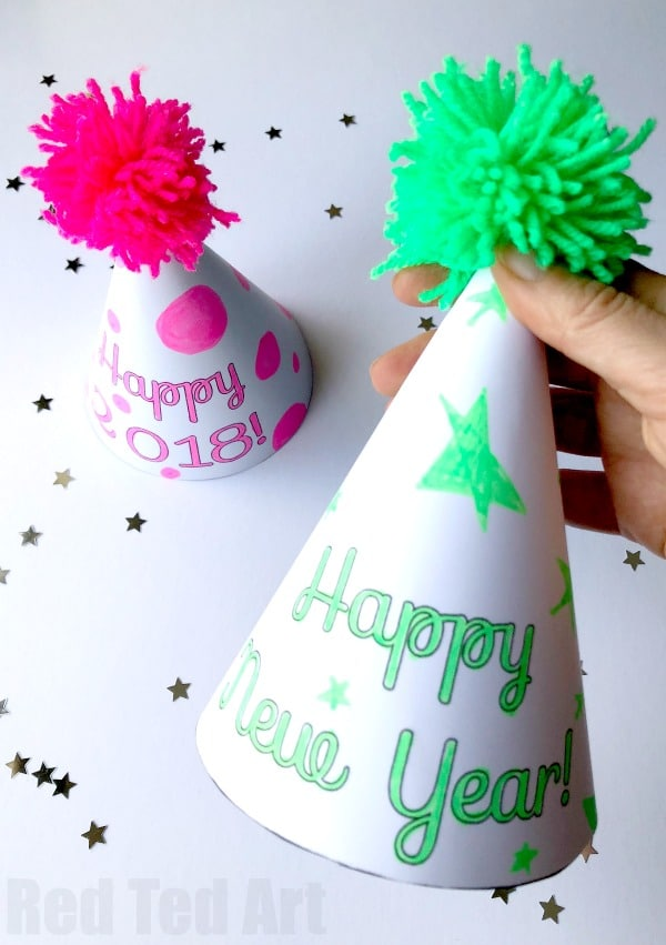 2019 New Year\u0027s Eve Party Hat Printables - Red Ted Art\u0027s Blog