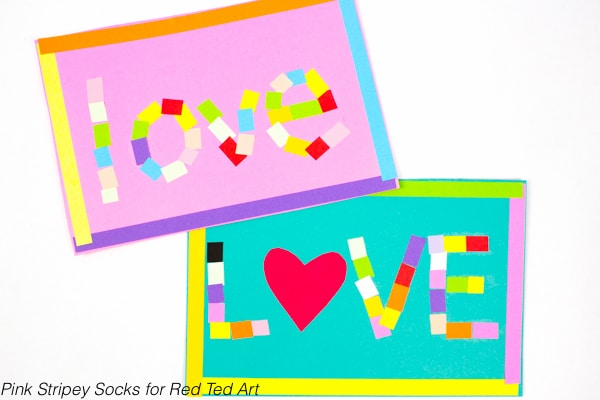 Mosaic Love Letter Cards - Red Ted Art