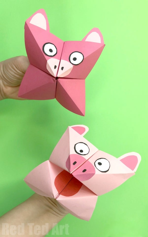 Pig Cootie Catcher Craft - Red Ted Art\u0027s Blog