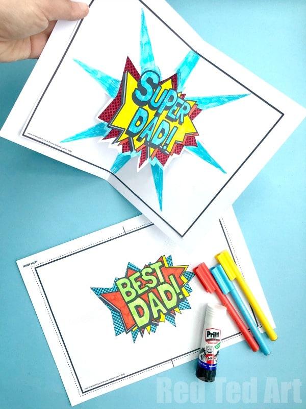 Pop Up Best Dad Card Printable - Red Ted Art\u0027s Blog