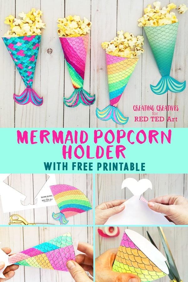 Mermaid Movie Night Printable Popcorn Holder - Red Ted Art\u0027s Blog